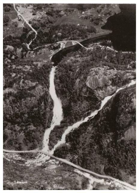 Postkarte, alte Luftaufnahme vom Låtefossen