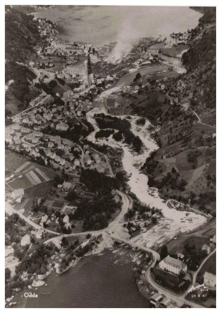 Postkarte, alte Luftaufnahme von Odda