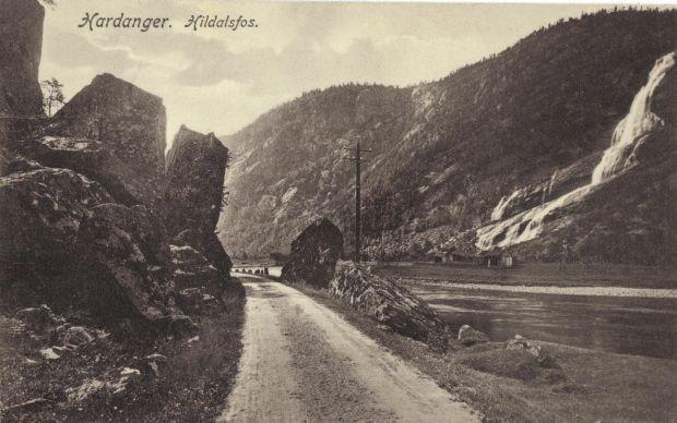 Alte Postkartenansicht auf den Hildalsfoss oder auch Vedfoss
