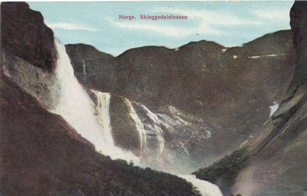 Alte Postkartenansicht des Skjeggedalsfossen am Ringedalsvatnet in Skjeggedal