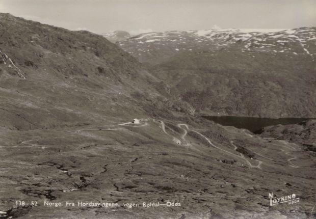 Postkartenansicht, Strasse von Røldal nach Odda