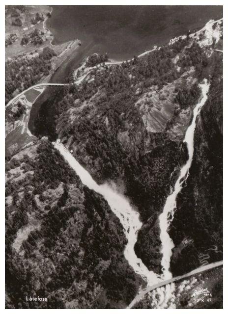Postkarte, alte Luftaufnahme vom Låtefossen..die zweite...