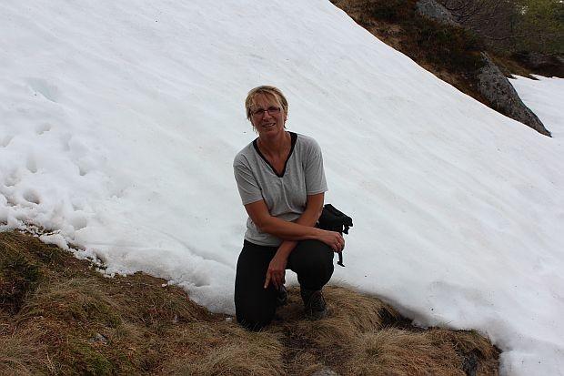 ein Rest von Schnee auf knapp 800 Meter Höhe am 16. Juni 2013