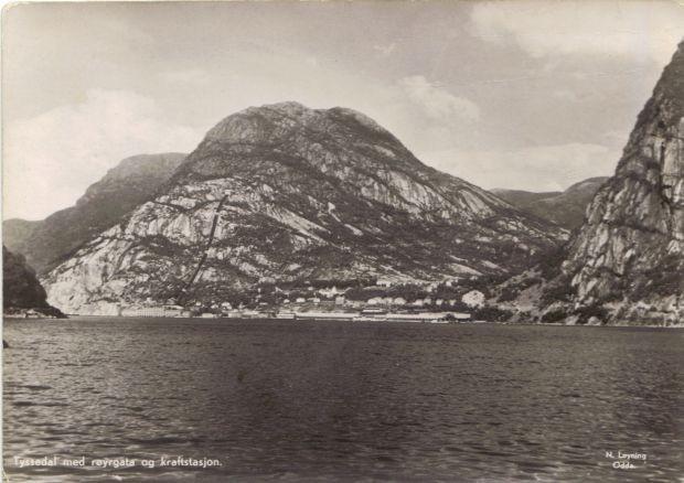 Alte Postkartenansicht von Tyssedal (von Eitrheim gesehen)