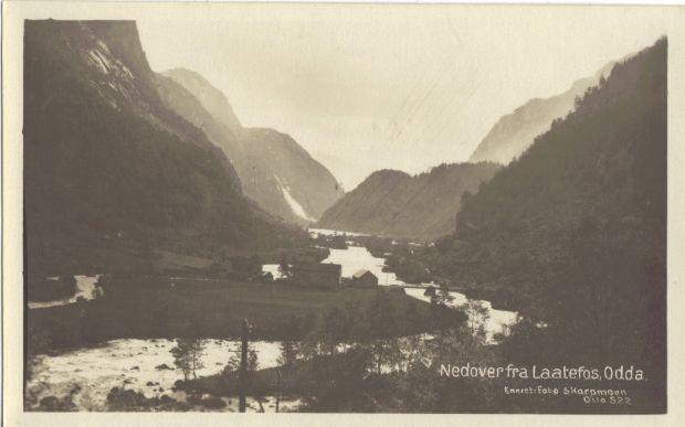 Alte Postkartenansicht des Weges unterhalb des Låtefoss Richtung Odda