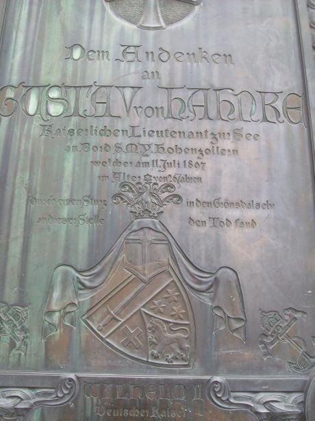 Gedenktafel für den Leutnant zur See Gustav von Hahnke der dort am 11.07.1897 zu Tode kam