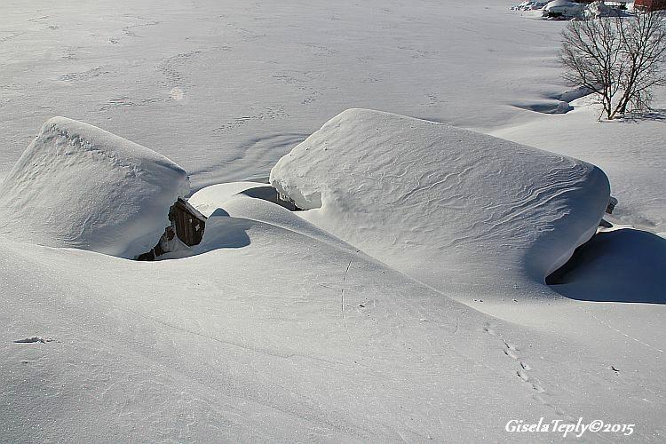 Bootshäuser mit Schneehaube...