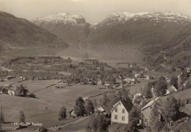 Alte Postkartenansicht von Røldal