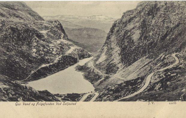 Sehr alte Postkartenansicht des Seljestadjuvet