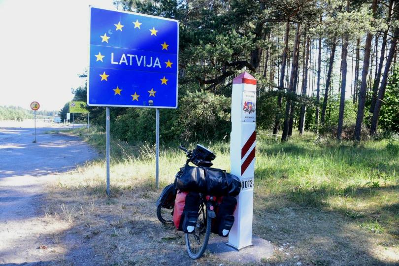 Ich verabschiede mich aus Litauen und überquere das vierte Mal eine Grenze und komme in Lettland an - ohne Grenzkontrolle