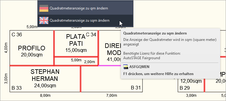 Fairground - Anzeige der Quadratmeter in sqm für internationale Messestände