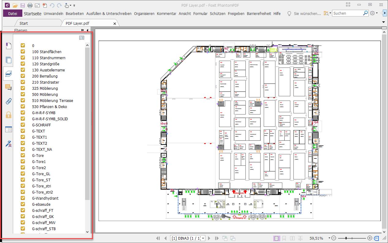 Layer einer Zeichnung in PDF-Datei beim Drucken übernehmen