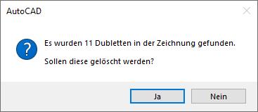 Anzeige der Anzahl der Dubletten mit der Option zum Löschen der überzähligen Symbole