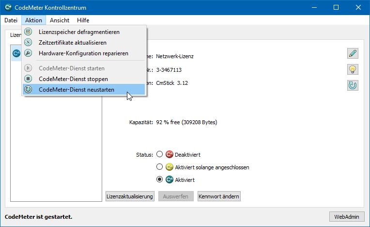 AutoSTAGE CodeMeter-Dienst neu starten