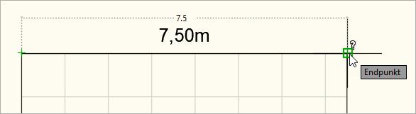 Gemessene Skalierung in Meter (1 Zeichnungseinheit = 1 Meter)