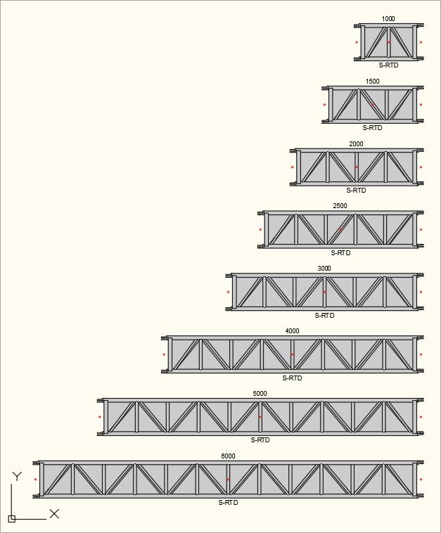 2D Draufsicht der S-M1010 Rect (S-RTD) Traversen in der Zeichnung