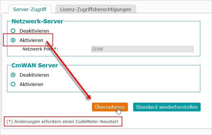 AutoSTAGE CodeMeter WebAdmin Netzwerk-Server aktivieren