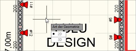 Befehlsoption Art der Geometrie: Es kann 2D oder 3D ausgewählt werden.