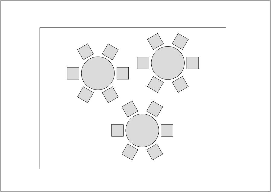 Ausdruck der Bankett-Tische, immer ohne Abstandslinie