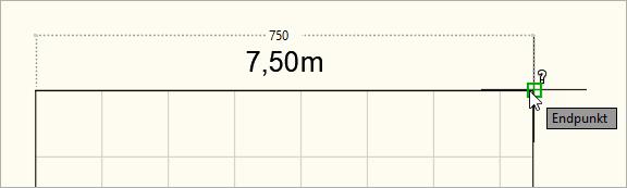 Gemessene Skalierung in Zentimeter (1 Zeichnungseinheit = 1 Zentimeter)