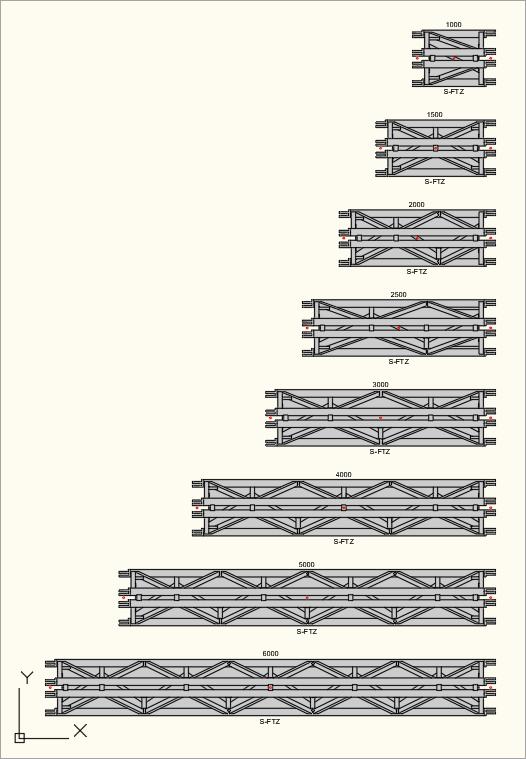 2D Draufsicht der S-M2000 Trio (S-FTZ) Traversen in der Zeichnung