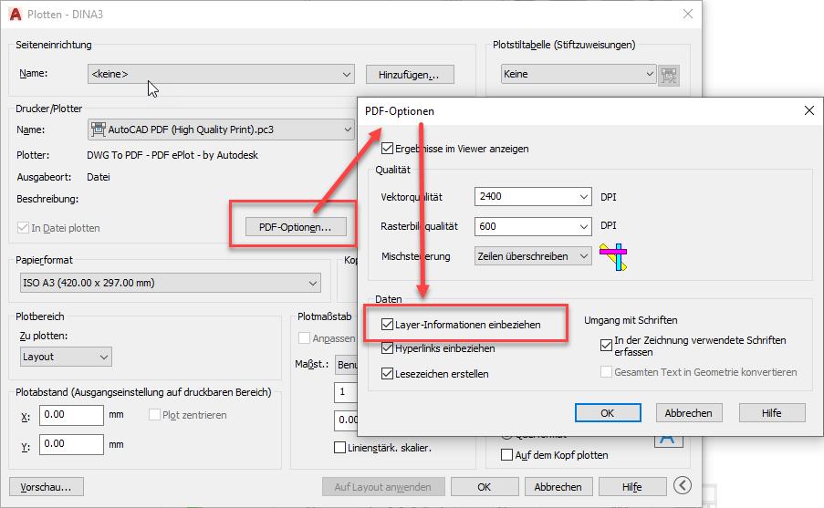 Einstellen der PDF Optionen zum Drucken von PDF-Dateien
