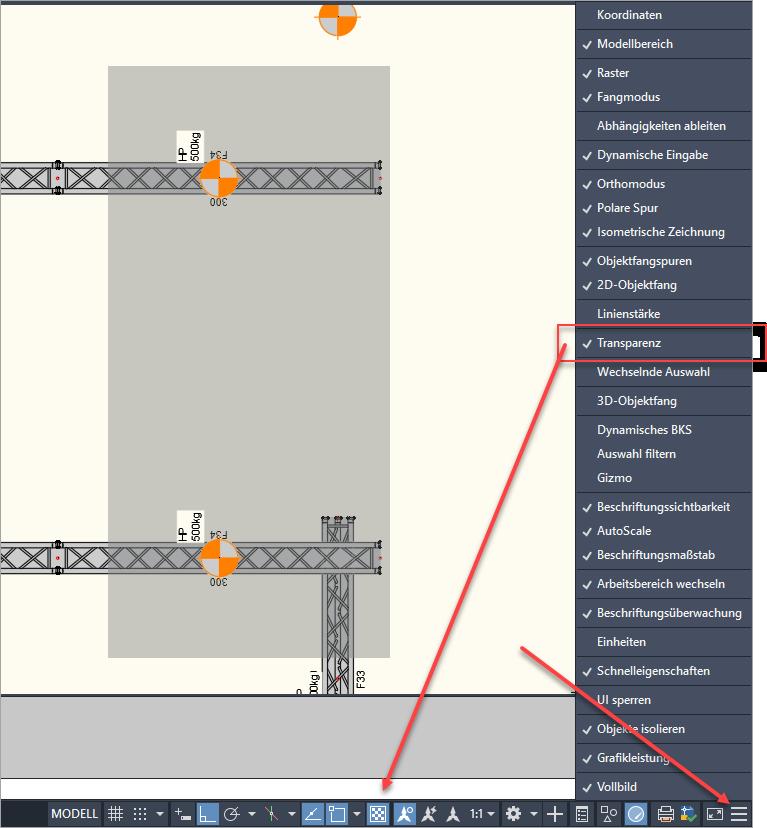 Einschalten des Transparenz-Schalters über den Anpassungsschalter für die Entwurfseinstellungen
