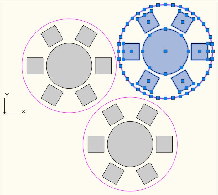 Ansicht mehrerer Bankett-Tische mit Abstandlinie