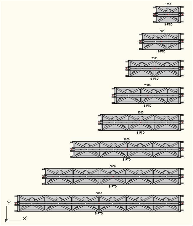 2D Draufsicht der S-M1010 Trio (S-FTD) Traversen in der Zeichnung