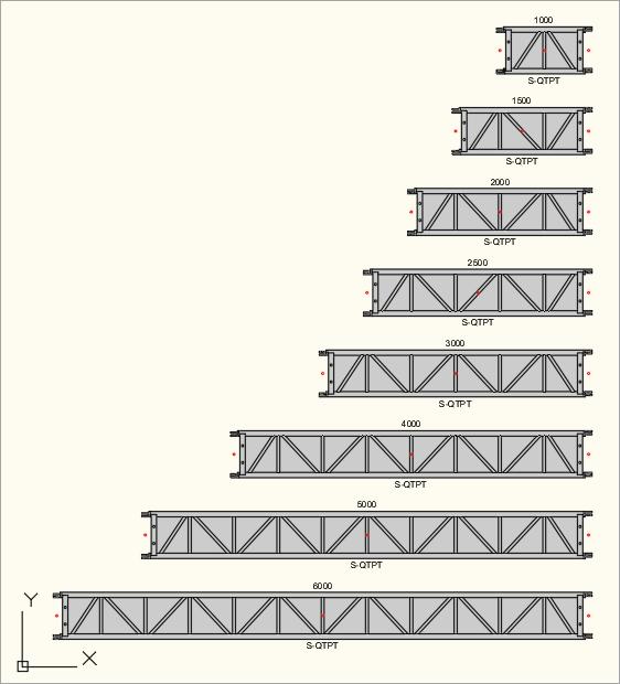 2D Draufsicht der S-M530 Quadro (S-QTPT) Traversen in der Zeichnung