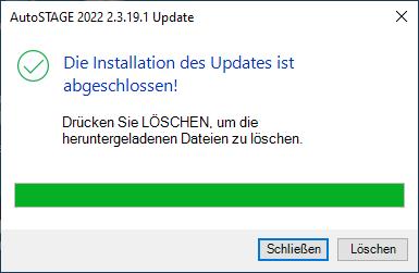 Abschließen des Updates von AutoSTAGE 2022