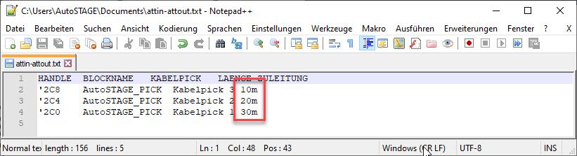 Textdatei mit veränderten Werten für den Import in die Zeichnung