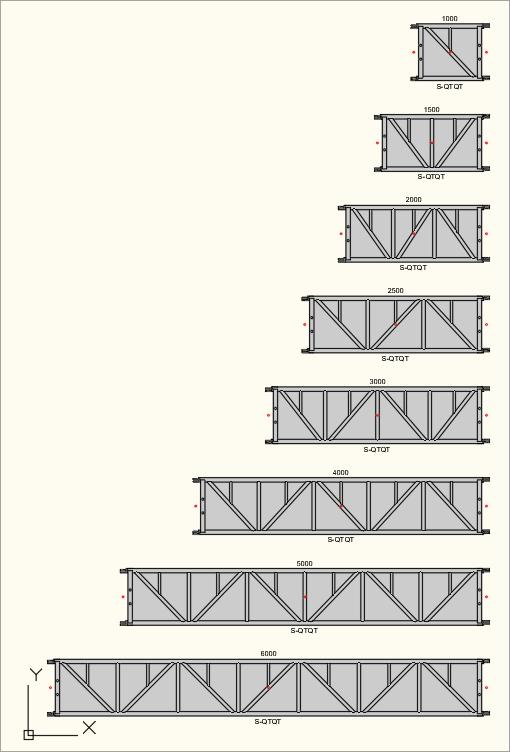 2D Draufsicht der S-M780 Quadro (S-QTQT) Traversen in der Zeichnung
