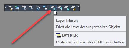 Eingeblendeter Werkzeugkasten Layer II mit dem LAYFRIER Befehl