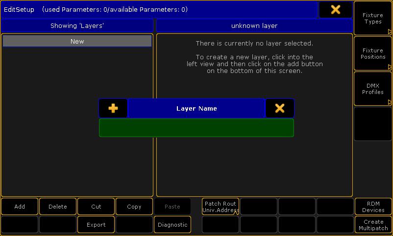 Eingabe des Layer Name durch Drücken der Enter/Please-Taste überspringen