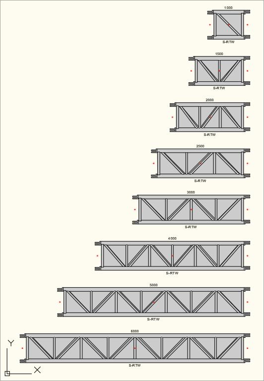 2D Draufsicht der S-M1450 Rect (S-RTW) Traversen in der Zeichnung