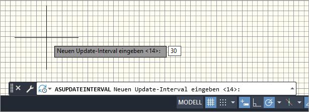 Eingabe des Update-Interval nach dem Starten des ASUPDATEINTERVAL Befehls