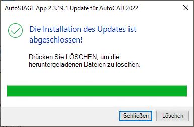 Abschließen des Updates für AutoSTAGE App