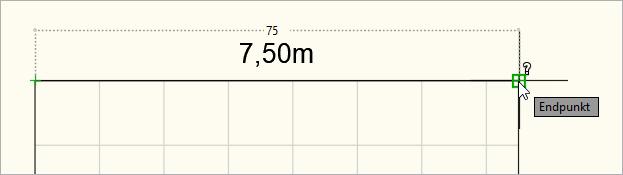 Gemessene Skalierung in Dezimeter (1 Zeichnungseinheit = 1 Dezimeter)