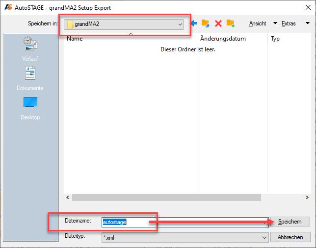 Speicherpfad und Dateiname der Transferdatei für den grandMA2 Export angeben