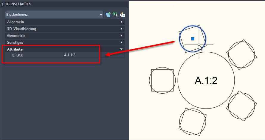 Exortieren der Zeichnung mit ASEXPORT für das Ticketsystem, hier zu sehen ein Stuhl mit den Attributen