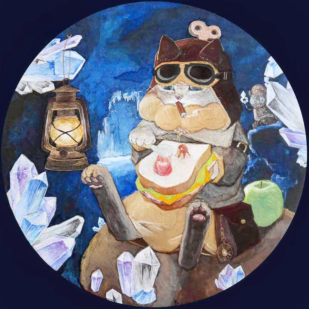 柏木花里 画「ドーナッツ猫」