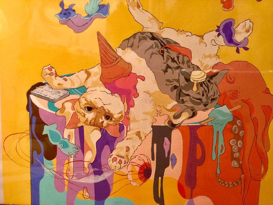 柏木花里 画 「ねこは軟体動物ですか?」(アクリル画)