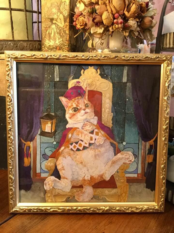 柏木花里 画 「ぐうたら王子は星をみる」(日本画)