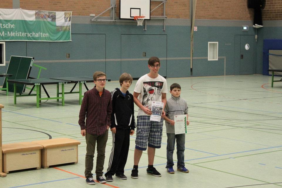 Siegerehrung (6. Platz): Nils, Daniel, Kevin, Nikita