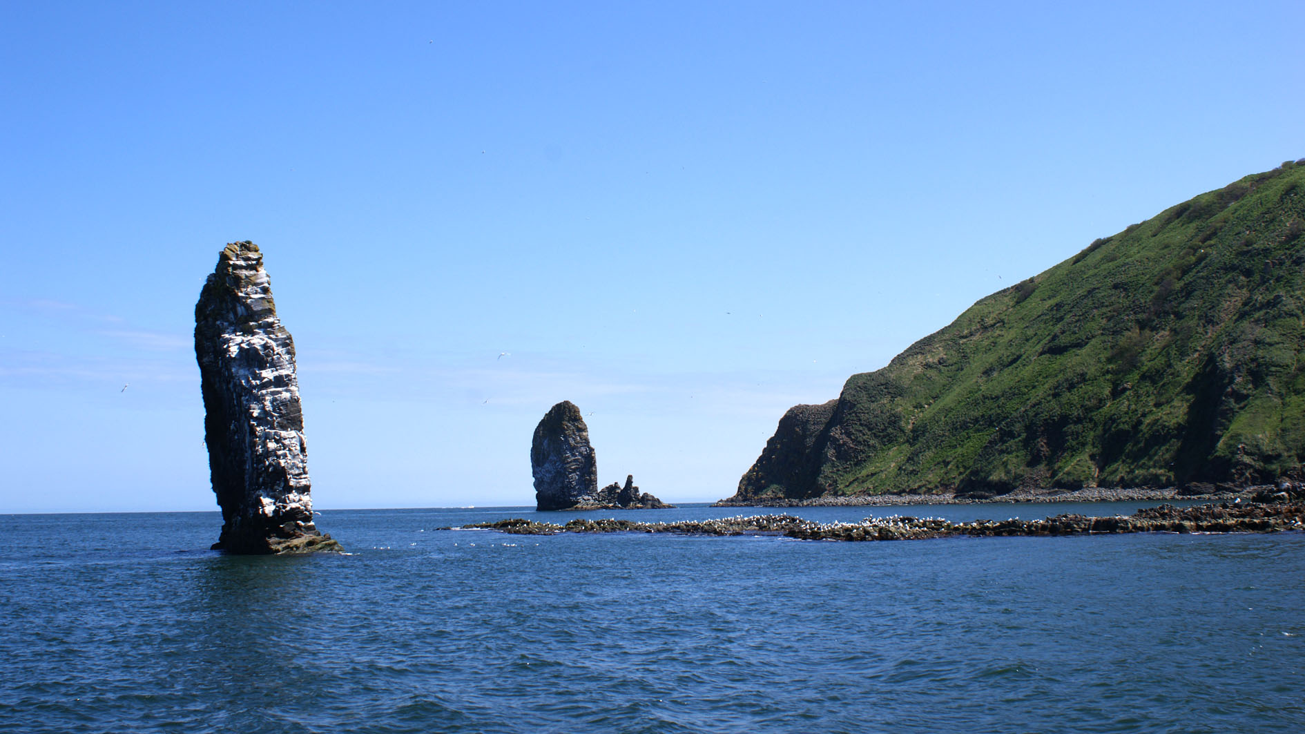 Starychkov Island in the Pacific Ocean