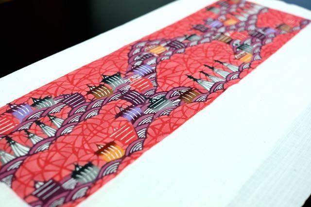 オーダーメイド三線胴巻き(ティーガー)用の紅型生地