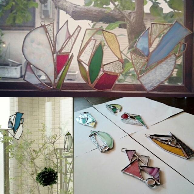 ステンドグラス制作にご参加いただいた方々の作品!その後ご自宅でも楽しんでいただけて嬉しいワークショップ✨