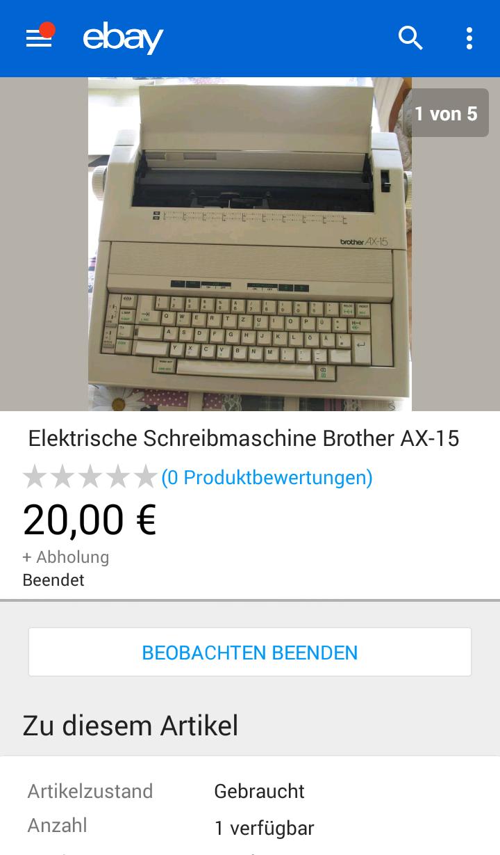 Schreibmaschine von eBay