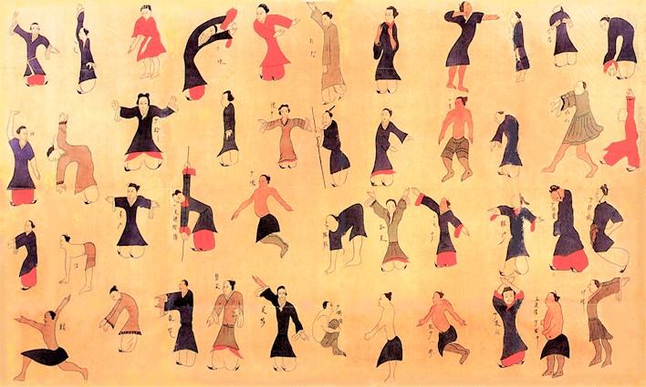 In den Gräbern der Han-Dynastie (206 v. Chr. – 220 n. Chr.) in Mawangdui bei Changsha (Provinz Hunan) wurde auf einem Seidenbild die älteste Abbildung von Daoyin-Übungen entdeckt.